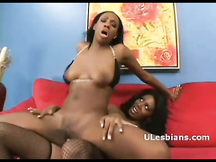 Thick Ass Ebony Hooker Drilled By Lesbian Lovers Dildo